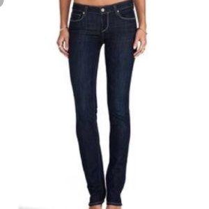 Paige Peg Straight Dark Stretch Skinny Jeans,sz 25